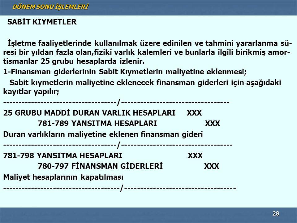 1-Finansman giderlerinin Sabit Kıymetlerin maliyetine eklenmesi;