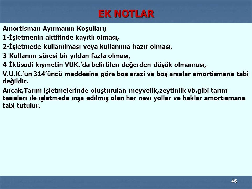 EK NOTLAR Amortisman Ayırmanın Koşulları;