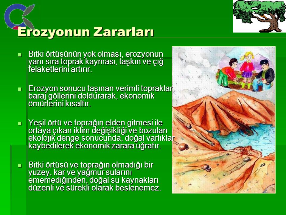 Erozyonun Zararları Bitki örtüsünün yok olması, erozyonun yanı sıra toprak kayması, taşkın ve çığ felaketlerini artırır.
