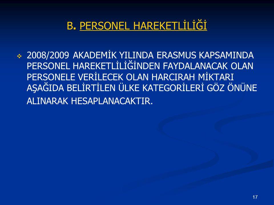 B. PERSONEL HAREKETLİLİĞİ
