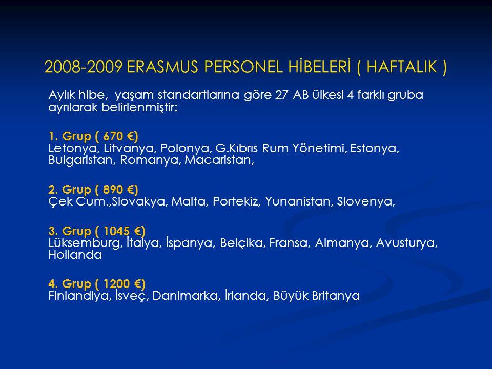 2008-2009 ERASMUS PERSONEL HİBELERİ ( HAFTALIK )