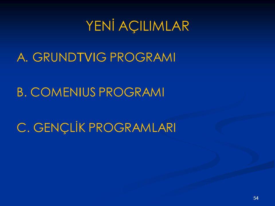 YENİ AÇILIMLAR A. GRUNDTVIG PROGRAMI B. COMENIUS PROGRAMI