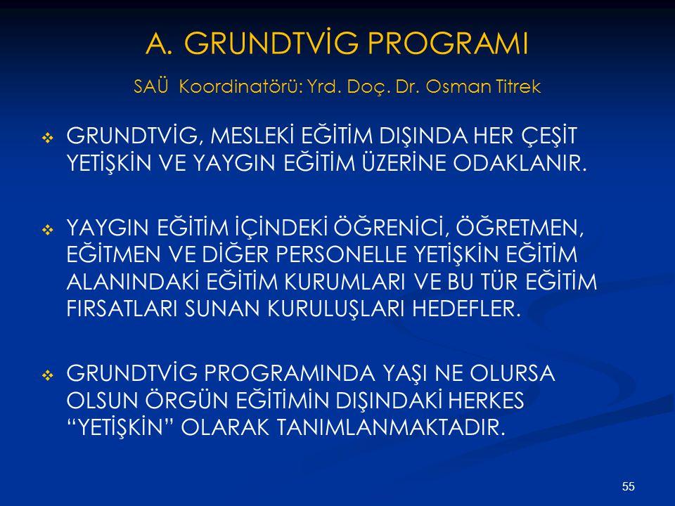 A. GRUNDTVİG PROGRAMI SAÜ Koordinatörü: Yrd. Doç. Dr. Osman Titrek