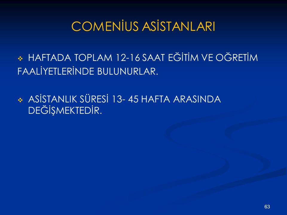 COMENİUS ASİSTANLARI HAFTADA TOPLAM 12-16 SAAT EĞİTİM VE OĞRETİM