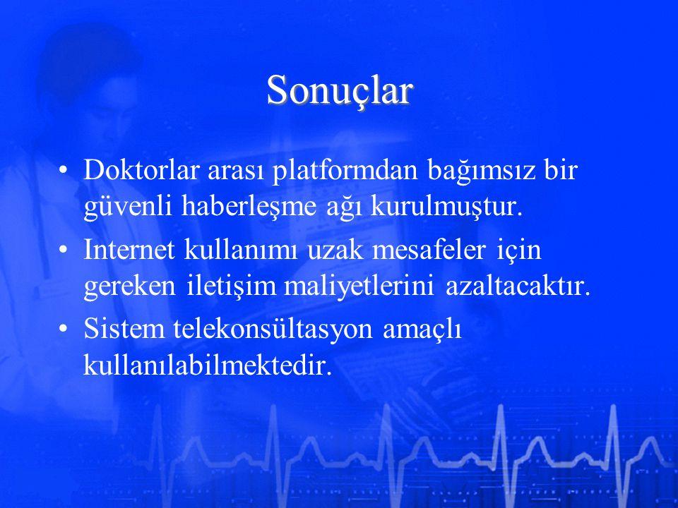 Sonuçlar Doktorlar arası platformdan bağımsız bir güvenli haberleşme ağı kurulmuştur.