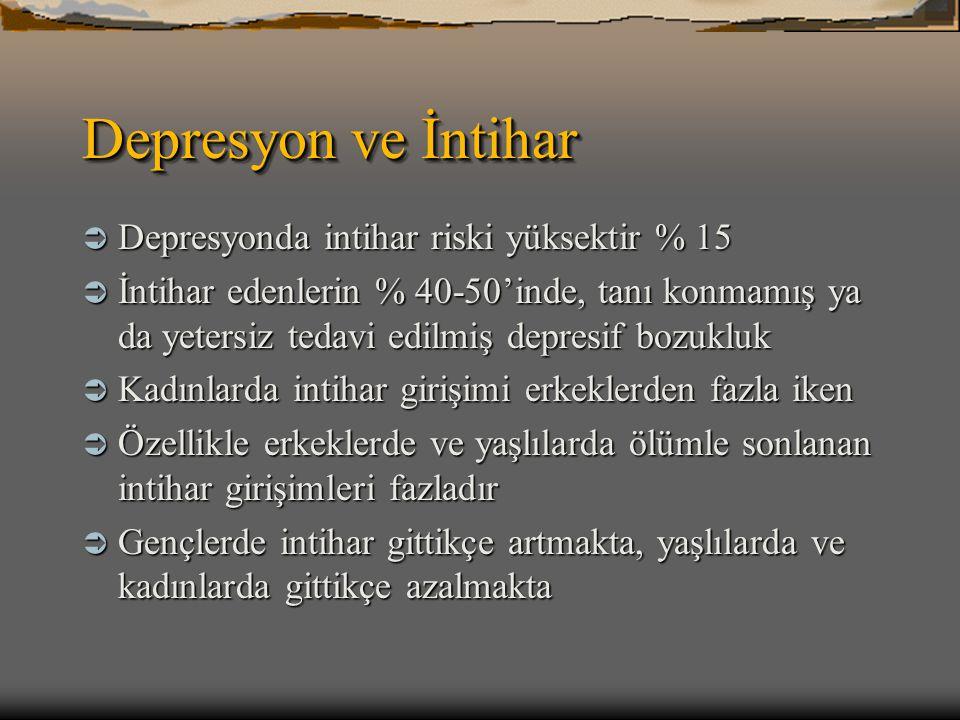 Depresyon ve İntihar Depresyonda intihar riski yüksektir % 15