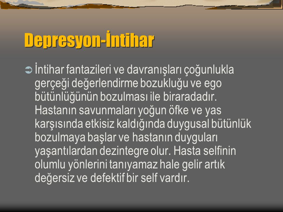 Depresyon-İntihar