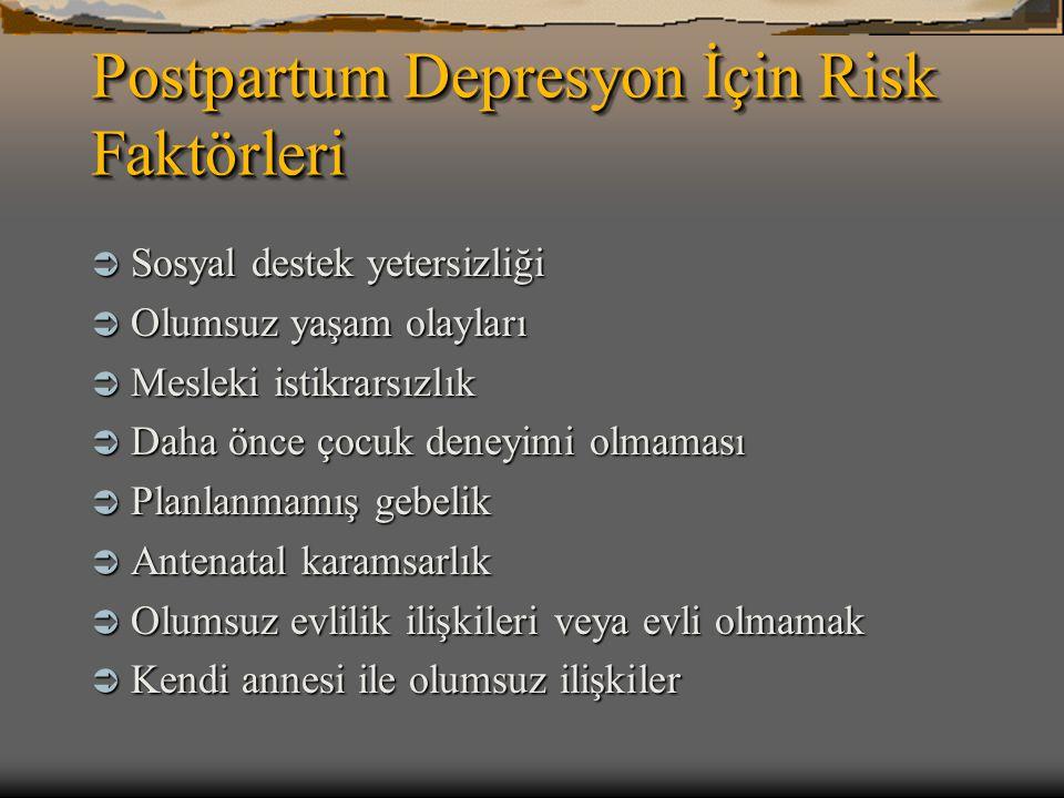 Postpartum Depresyon İçin Risk Faktörleri
