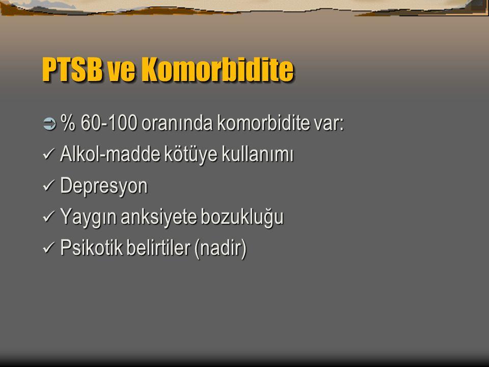 PTSB ve Komorbidite % 60-100 oranında komorbidite var: