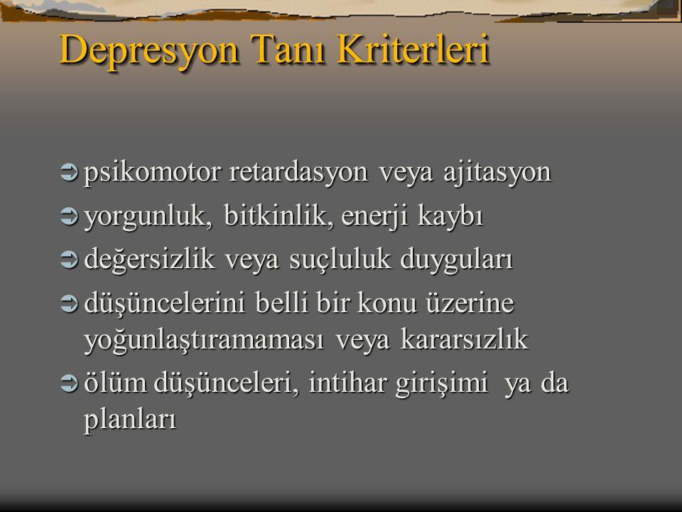 Depresyon Tanı Kriterleri