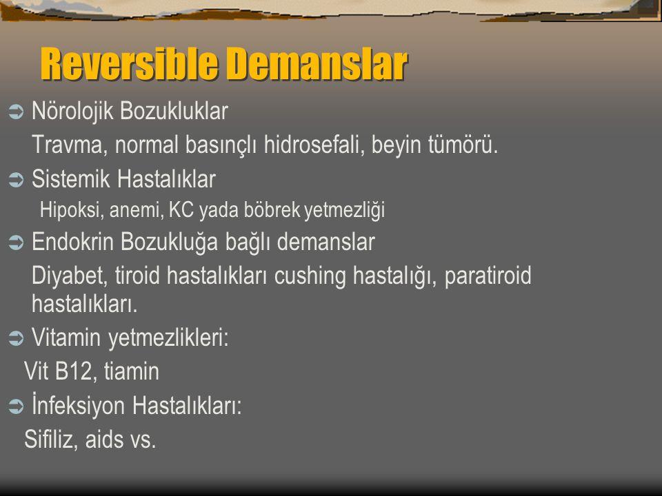 Reversible Demanslar Nörolojik Bozukluklar