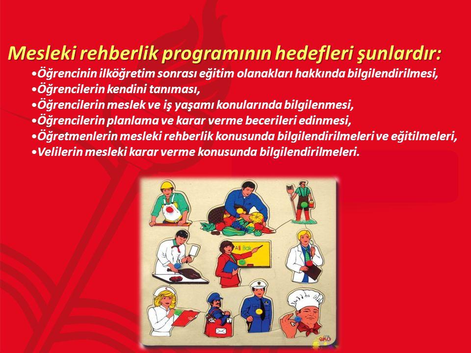 Mesleki rehberlik programının hedefleri şunlardır: