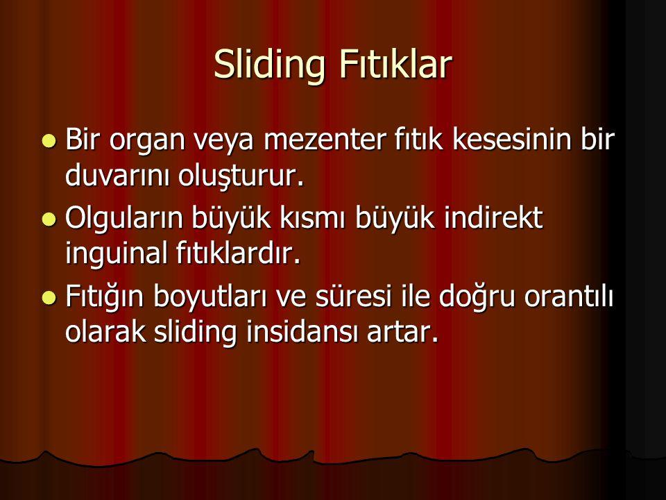 Sliding Fıtıklar Bir organ veya mezenter fıtık kesesinin bir duvarını oluşturur. Olguların büyük kısmı büyük indirekt inguinal fıtıklardır.