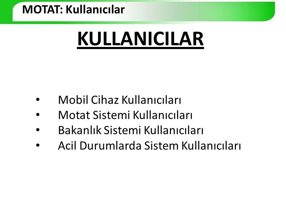 MOTAT: Kullanıcılar KULLANICILAR. Mobil Cihaz Kullanıcıları. Motat Sistemi Kullanıcıları. Bakanlık Sistemi Kullanıcıları.