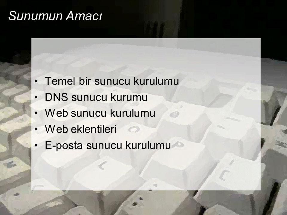 Sunumun Amacı Temel bir sunucu kurulumu DNS sunucu kurumu