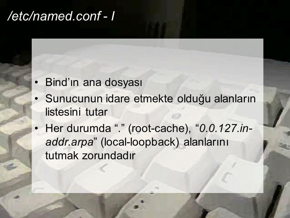 /etc/named.conf - I Bind'ın ana dosyası