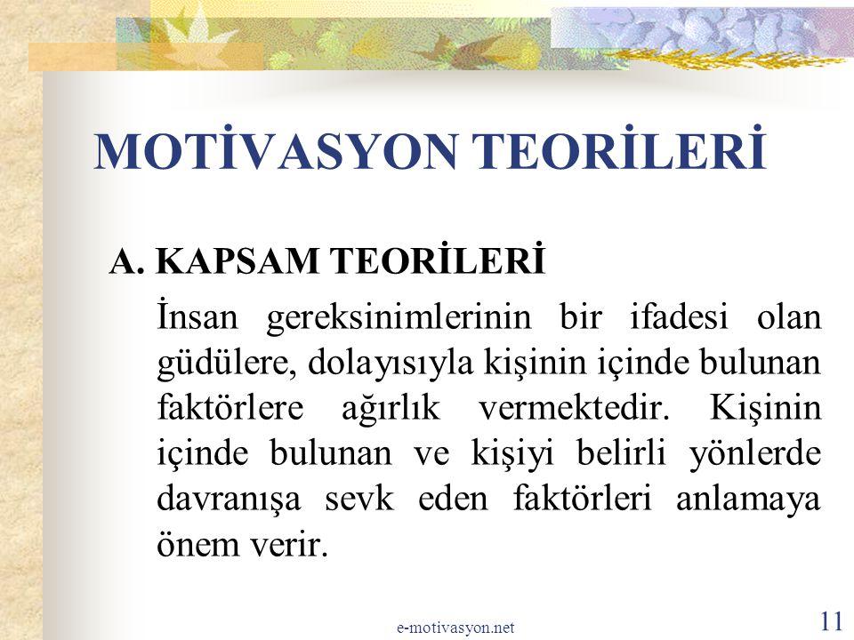 MOTİVASYON TEORİLERİ A. KAPSAM TEORİLERİ