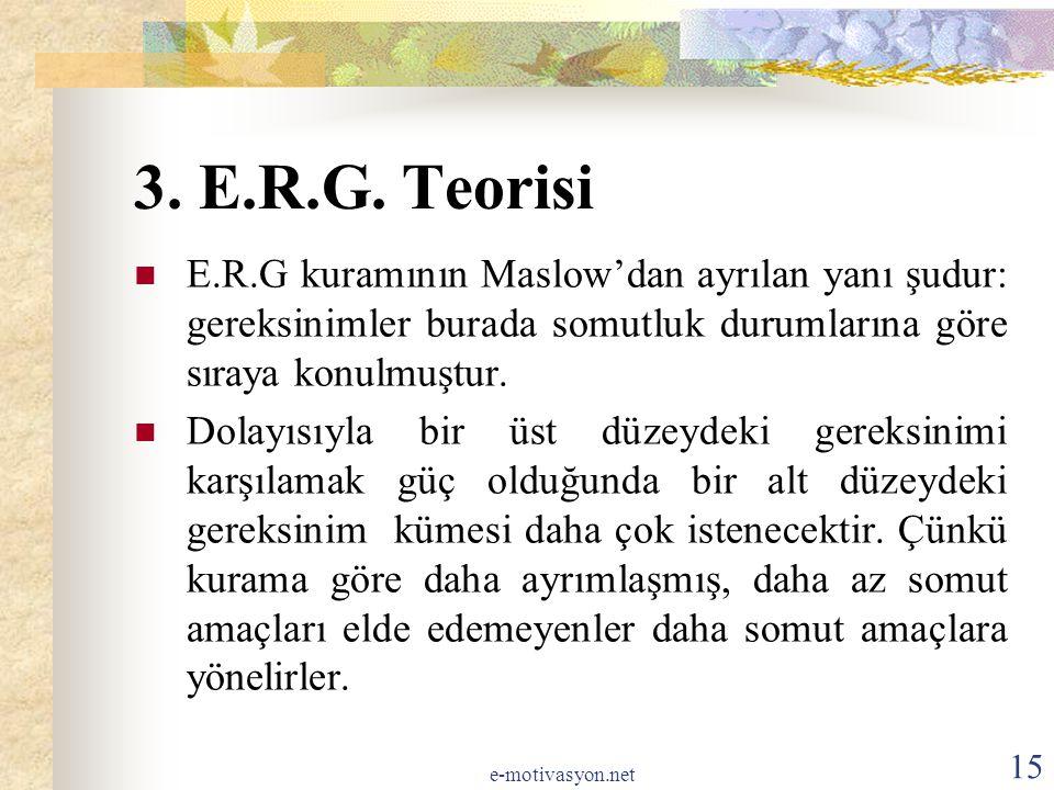 3. E.R.G. Teorisi E.R.G kuramının Maslow'dan ayrılan yanı şudur: gereksinimler burada somutluk durumlarına göre sıraya konulmuştur.