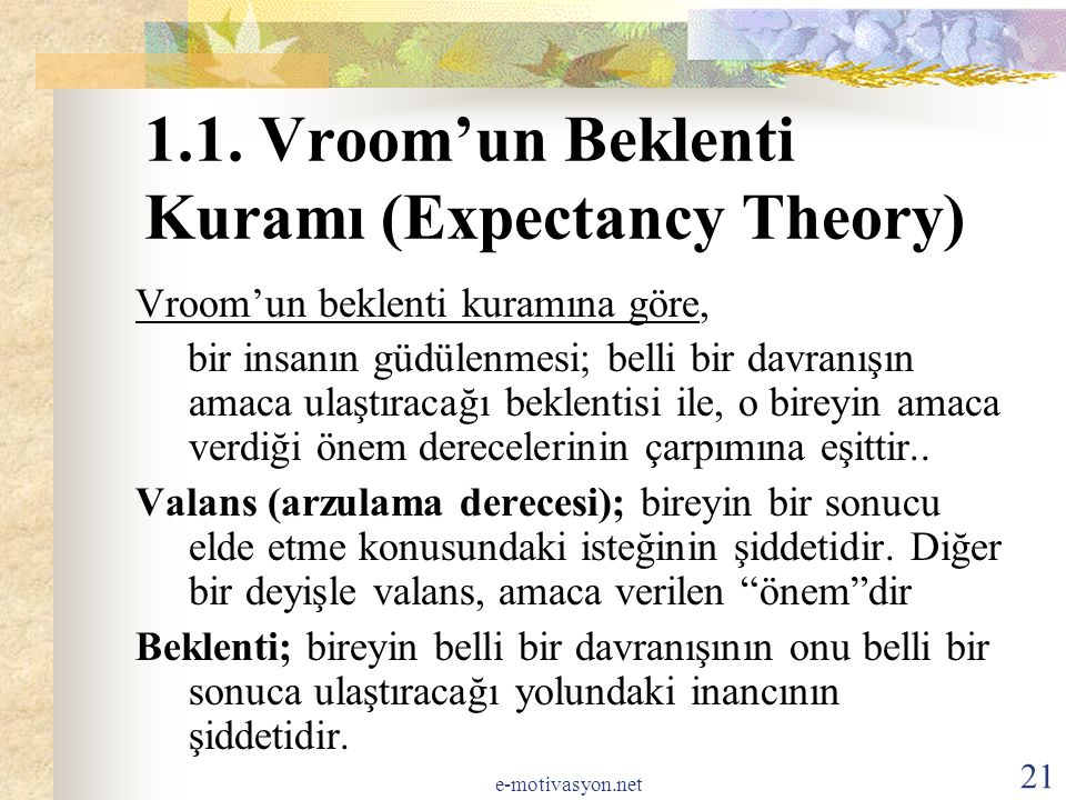 1.1. Vroom'un Beklenti Kuramı (Expectancy Theory)