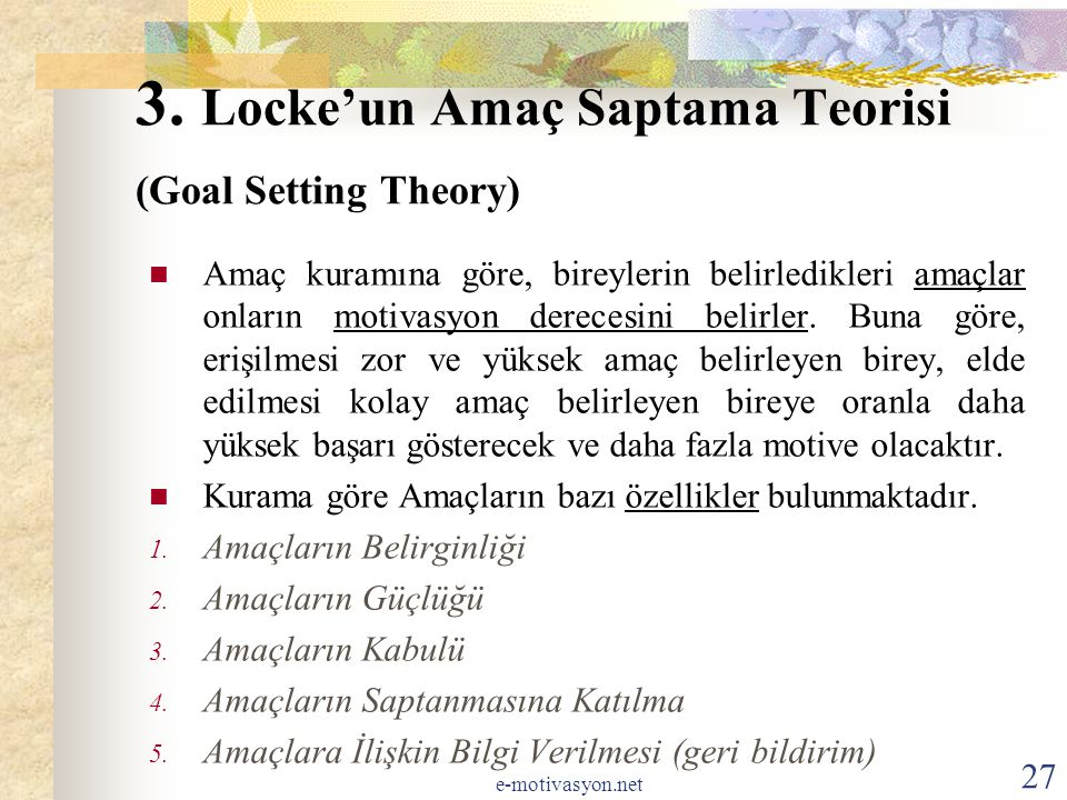 3. Locke'un Amaç Saptama Teorisi (Goal Setting Theory)