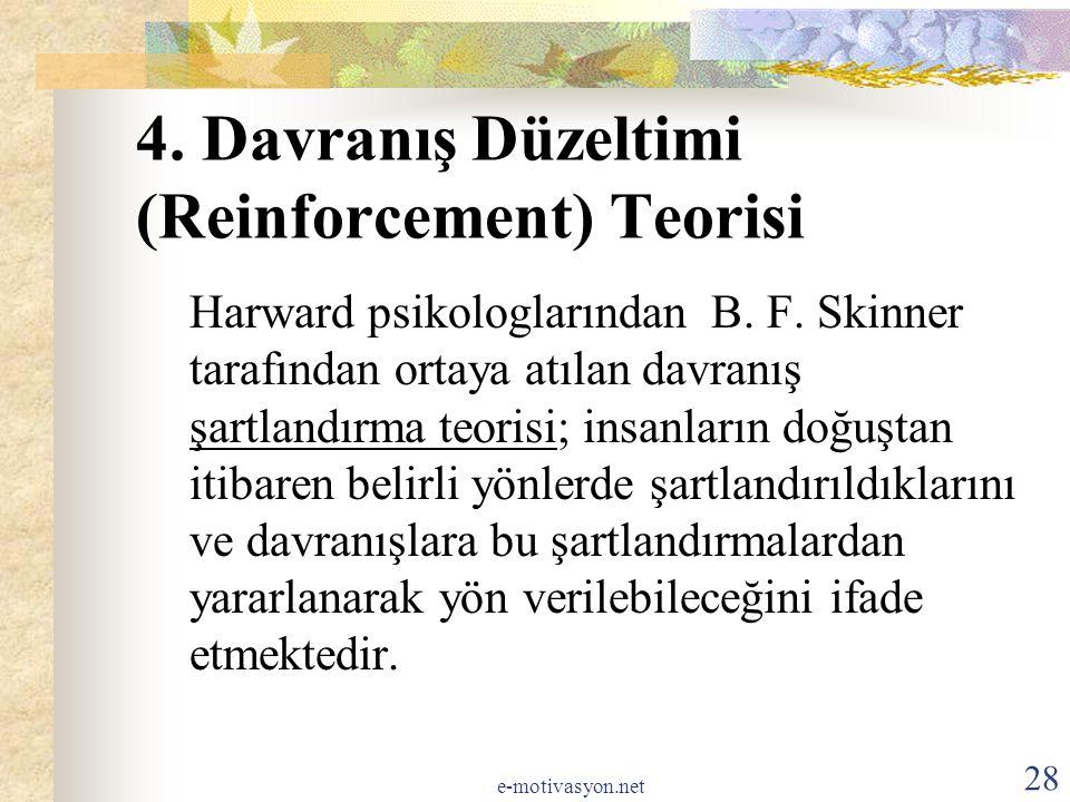 4. Davranış Düzeltimi (Reinforcement) Teorisi
