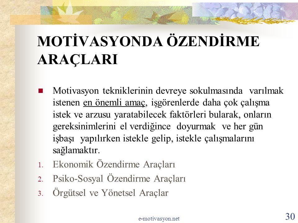 MOTİVASYONDA ÖZENDİRME ARAÇLARI