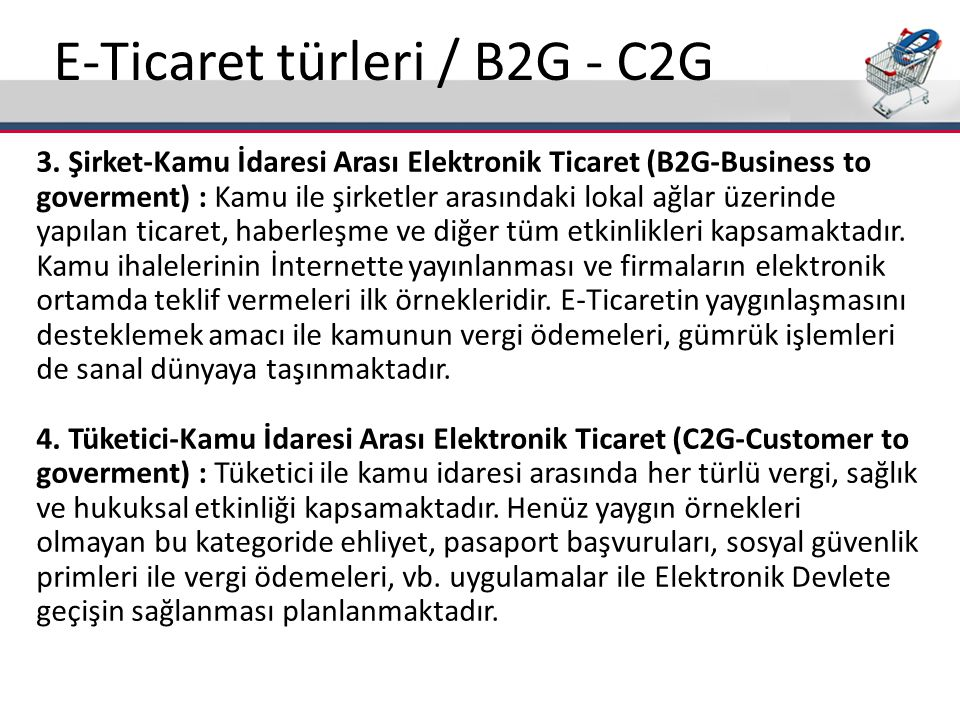 E-Ticaret türleri / B2G - C2G