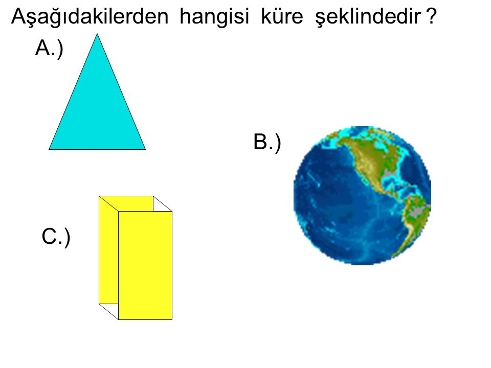 Aşağıdakilerden hangisi küre şeklindedir