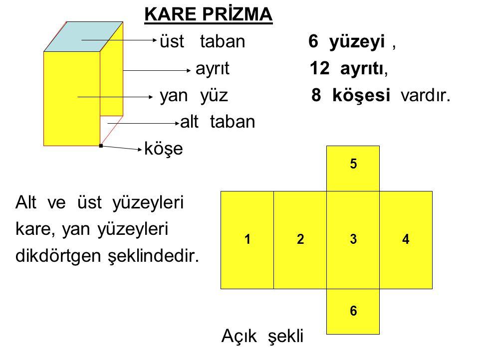 . KARE PRİZMA üst taban 6 yüzeyi , ayrıt 12 ayrıtı,