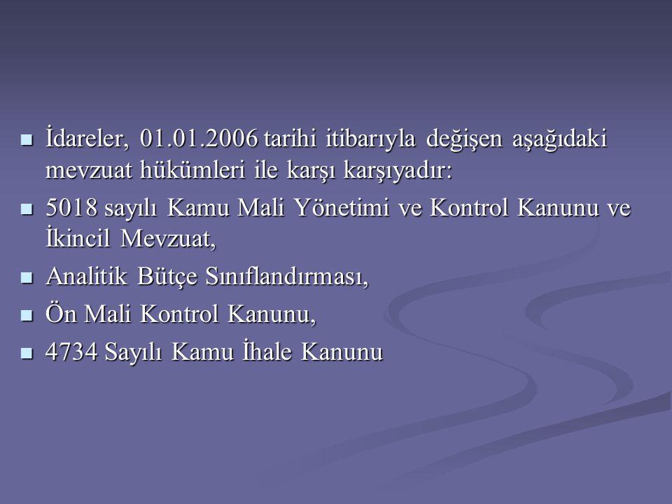 İdareler, 01.01.2006 tarihi itibarıyla değişen aşağıdaki mevzuat hükümleri ile karşı karşıyadır: