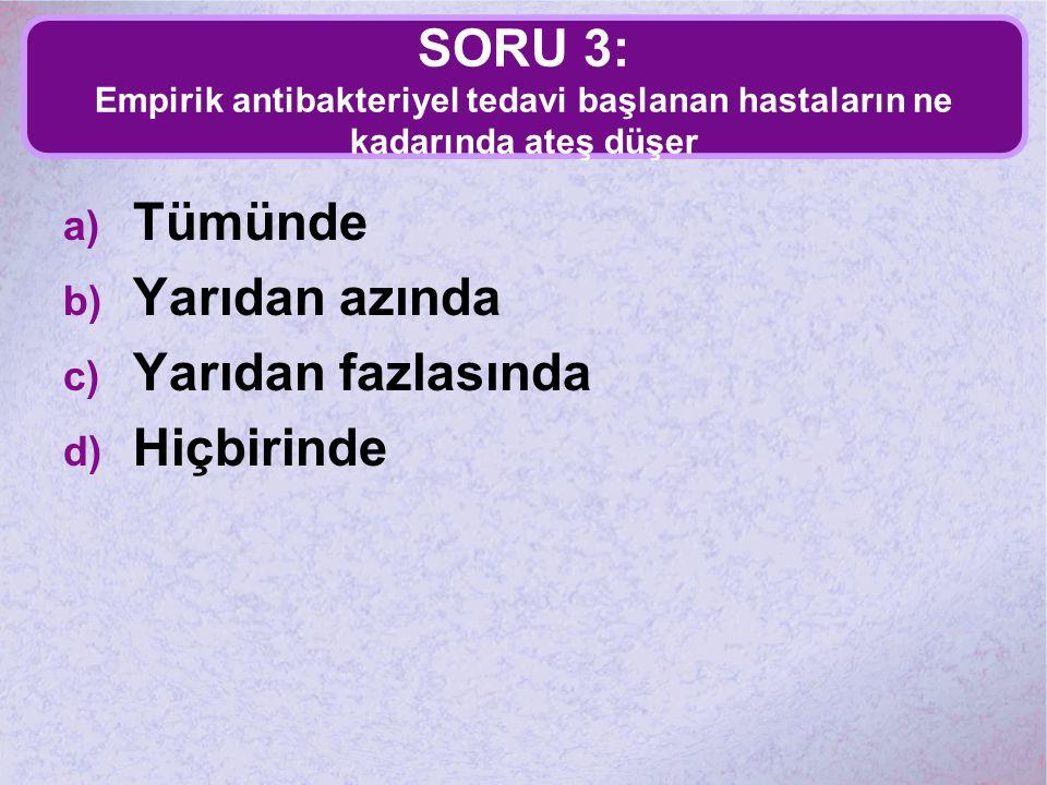 SORU 3: Empirik antibakteriyel tedavi başlanan hastaların ne kadarında ateş düşer