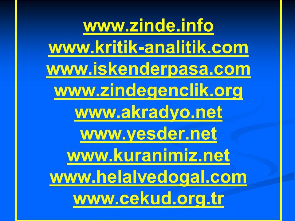 Çok Faydalı Linkler www.zinde.info www.kritik-analitik.com