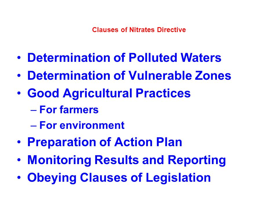 Clauses of Nitrates Directive
