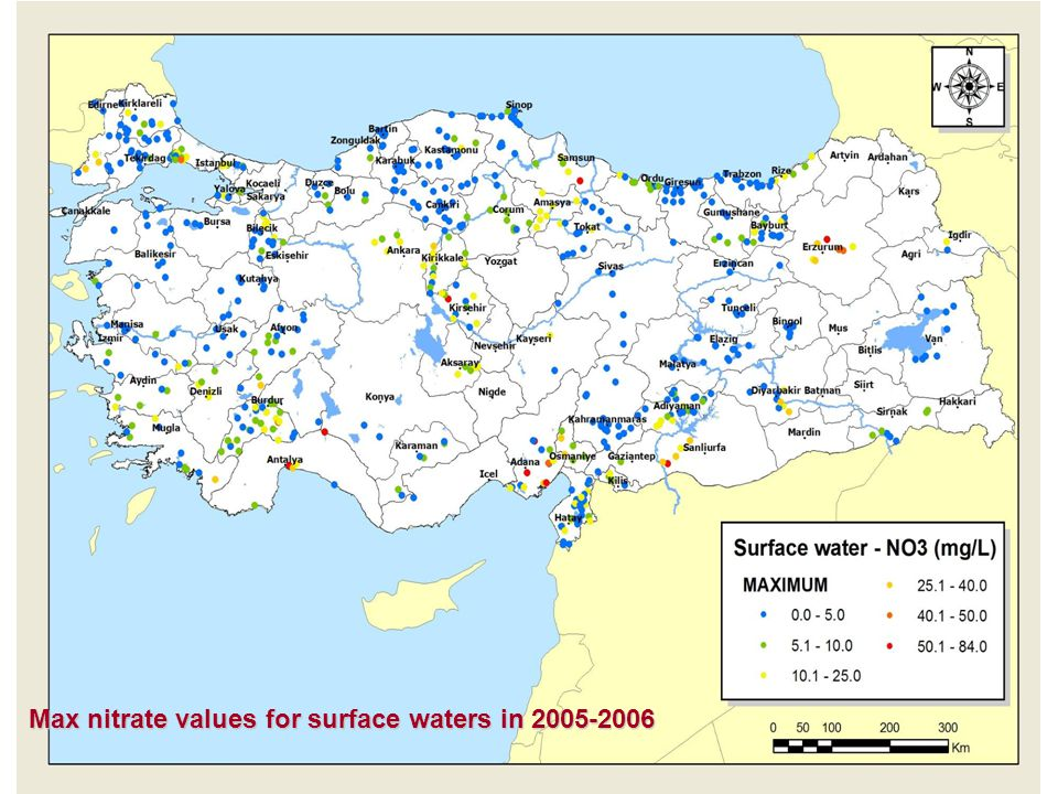 Max nitrate values for surface waters in 2005-2006