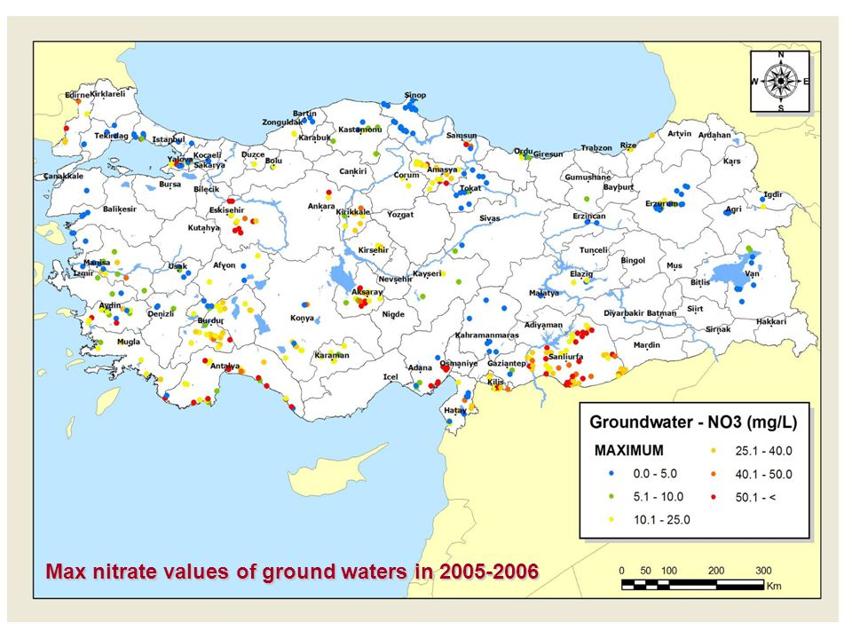 Max nitrate values of ground waters in 2005-2006