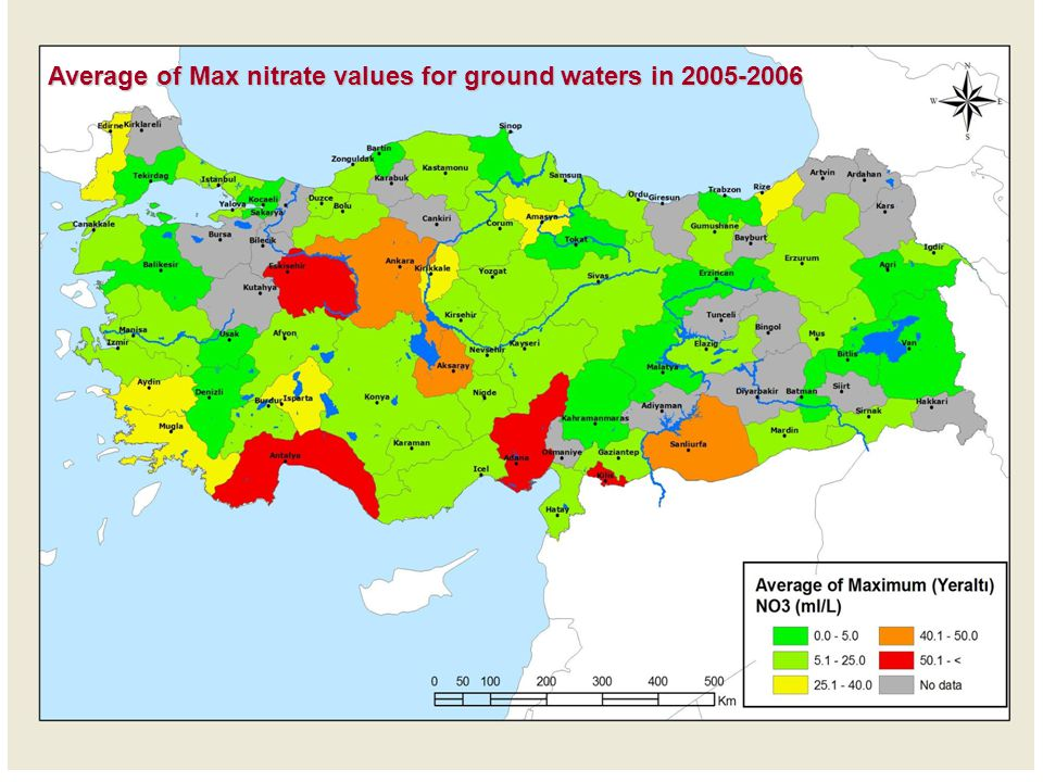 Average of Max nitrate values for ground waters in 2005-2006