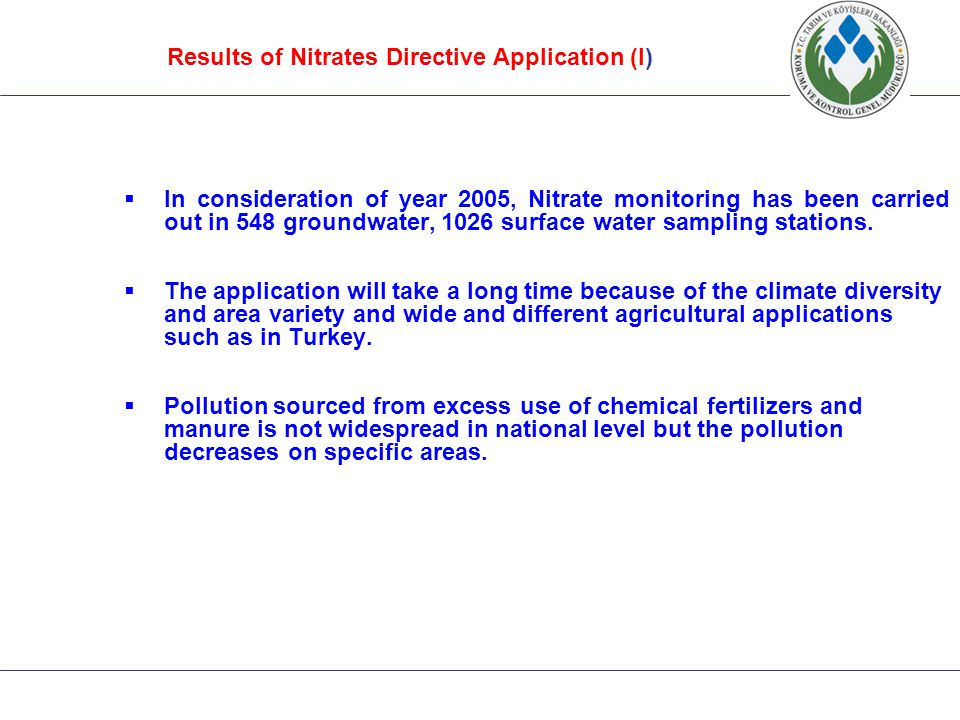 Results of Nitrates Directive Application (I)