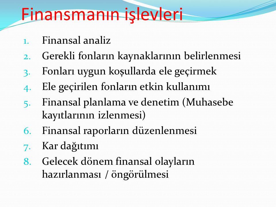 Finansmanın işlevleri