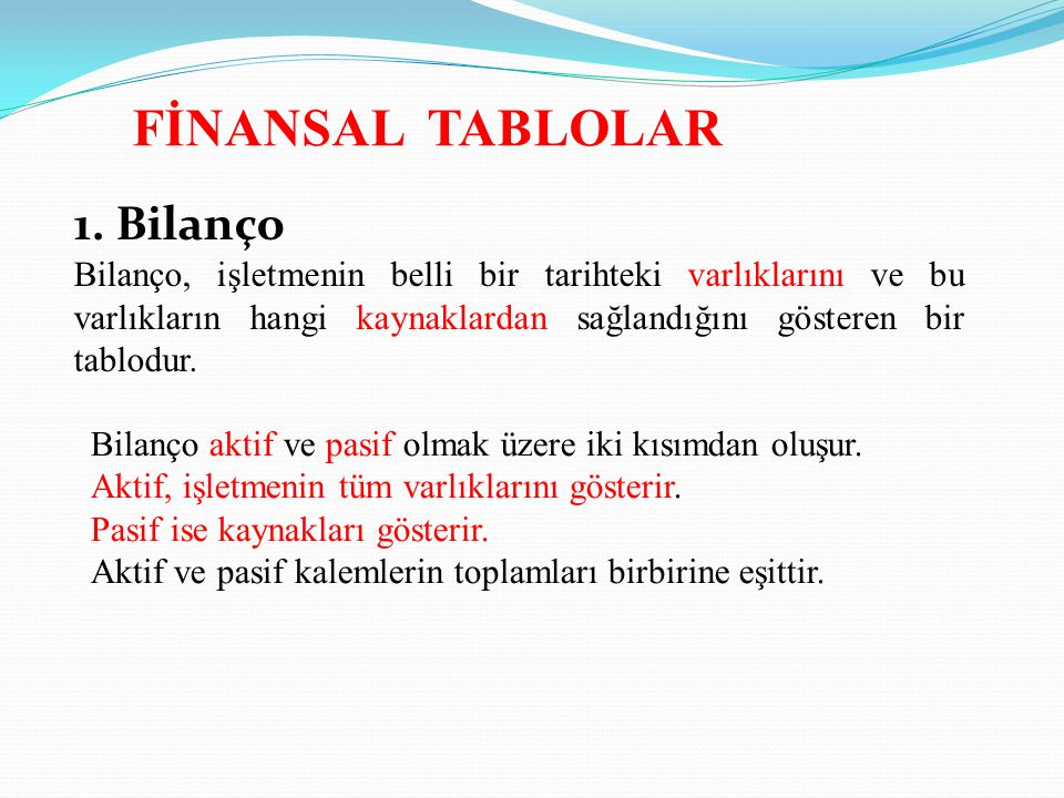 FİNANSAL TABLOLAR 1. Bilanço