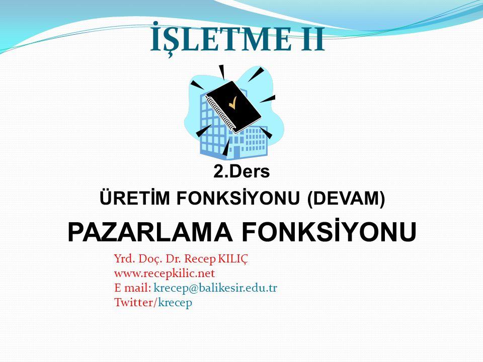 ÜRETİM FONKSİYONU (DEVAM)