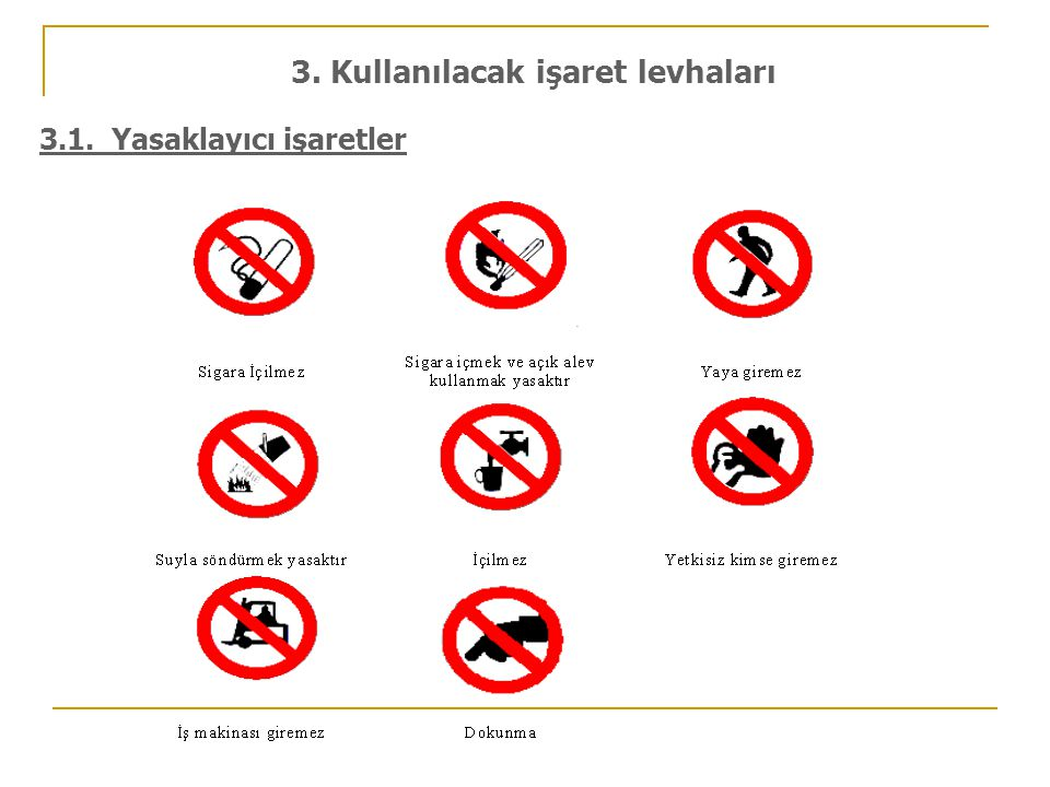 3. Kullanılacak işaret levhaları