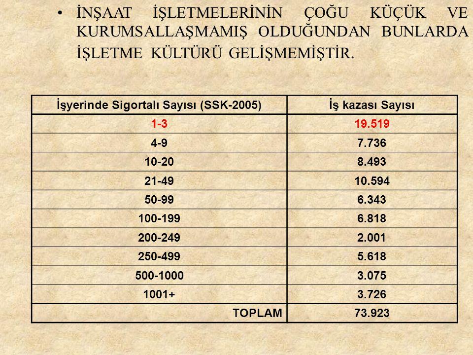 İşyerinde Sigortalı Sayısı (SSK-2005)