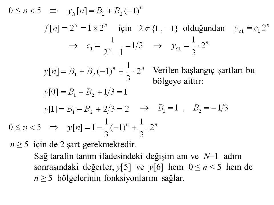 için olduğundan. Verilen başlangıç şartları bu bölgeye aittir: n ≥ 5 için de 2 şart gerekmektedir.