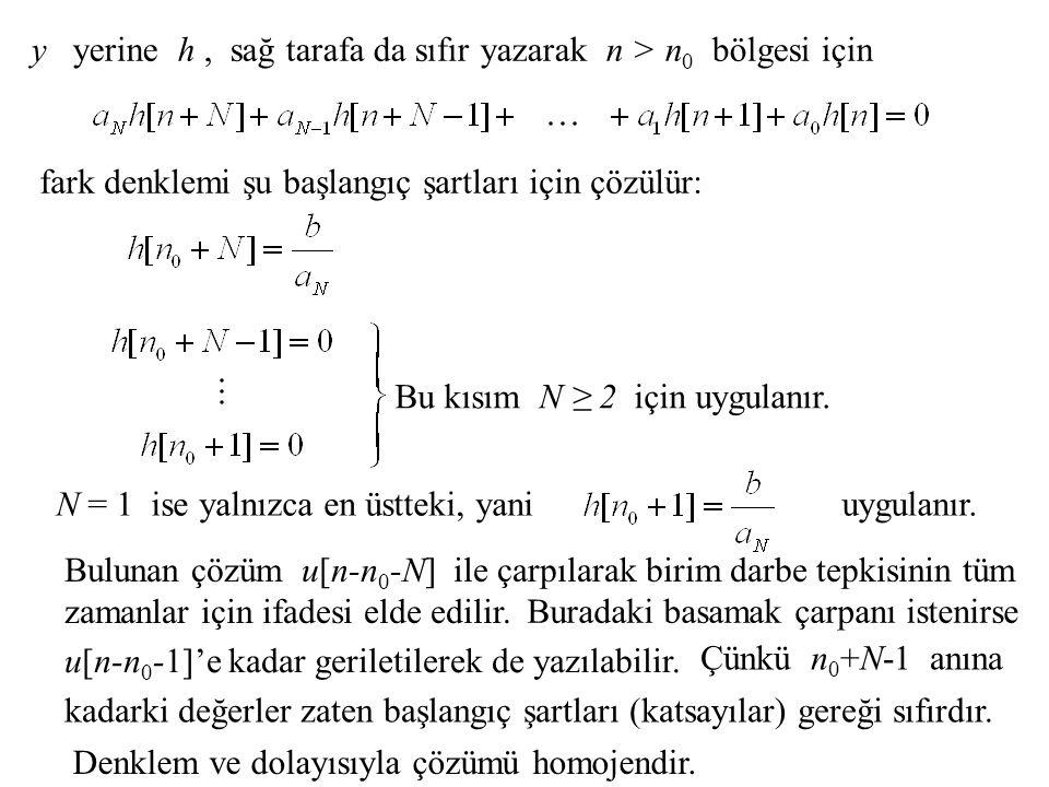 y yerine h , sağ tarafa da sıfır yazarak n > n0 bölgesi için