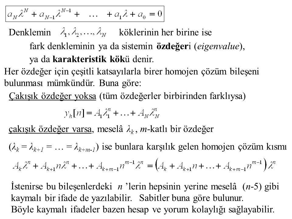 Denklemin köklerinin her birine ise. fark denkleminin ya da sistemin özdeğeri (eigenvalue), ya da karakteristik kökü denir.
