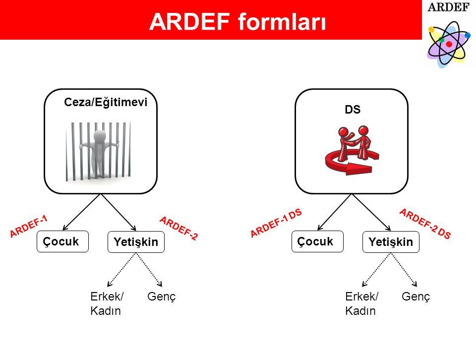 ARDEF formları Ceza/Eğitimevi DS Çocuk Yetişkin Çocuk Yetişkin Erkek/