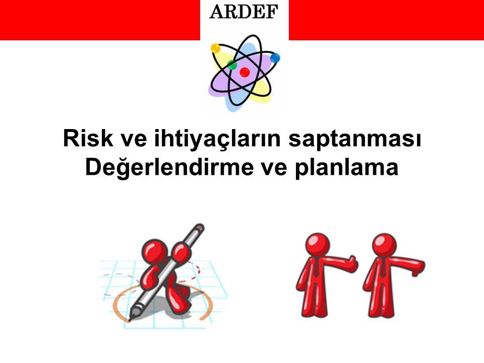 Risk ve ihtiyaçların saptanması Değerlendirme ve planlama
