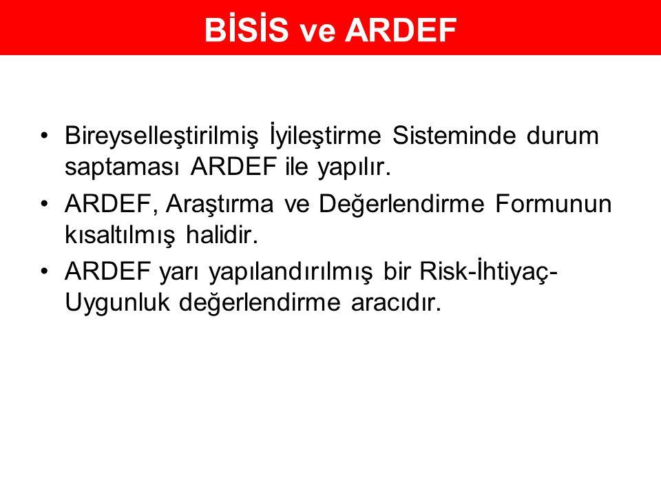 BİSİS ve ARDEF Bireyselleştirilmiş İyileştirme Sisteminde durum saptaması ARDEF ile yapılır.