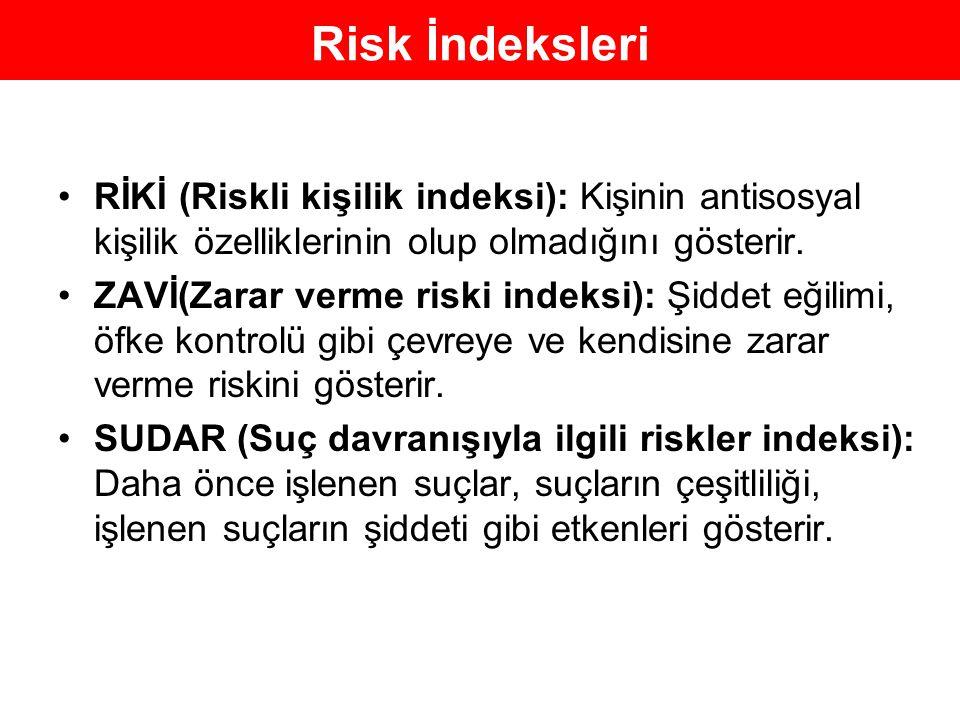 Risk İndeksleri RİKİ (Riskli kişilik indeksi): Kişinin antisosyal kişilik özelliklerinin olup olmadığını gösterir.
