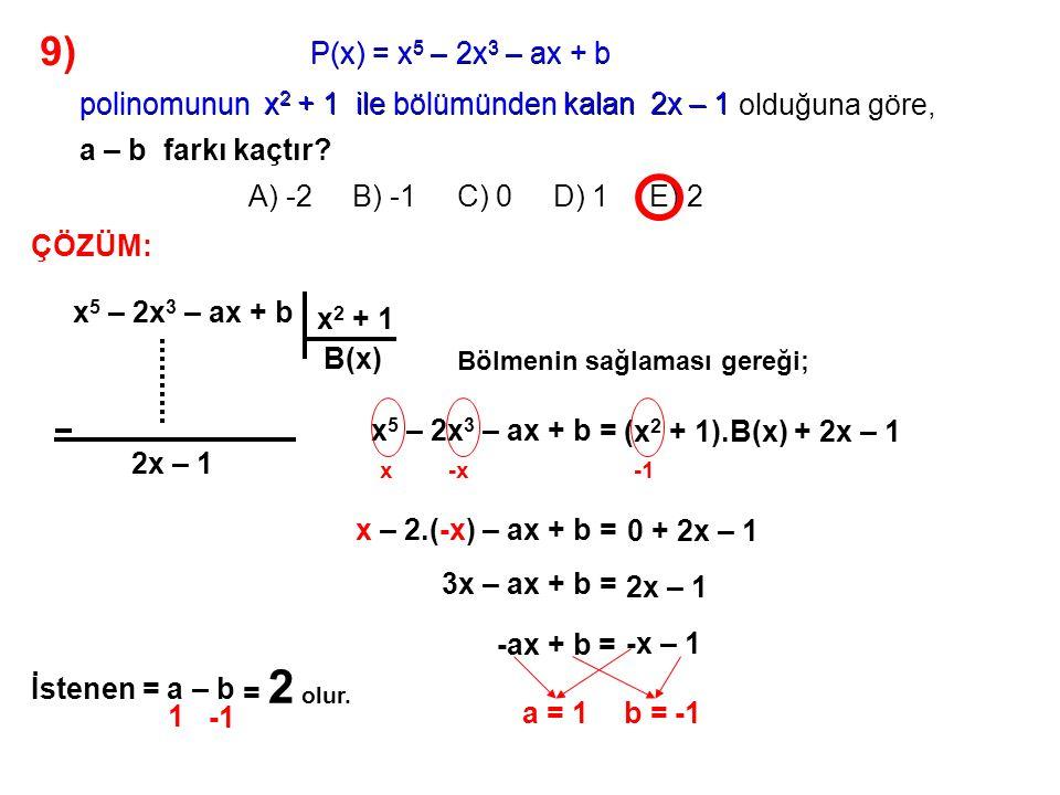 9) A) -2 B) -1 C) 0 D) 1 E) 2 P(x) = x5 – 2x3 – ax + b